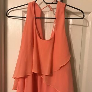 Pink layered tank top. Size large. Boutique